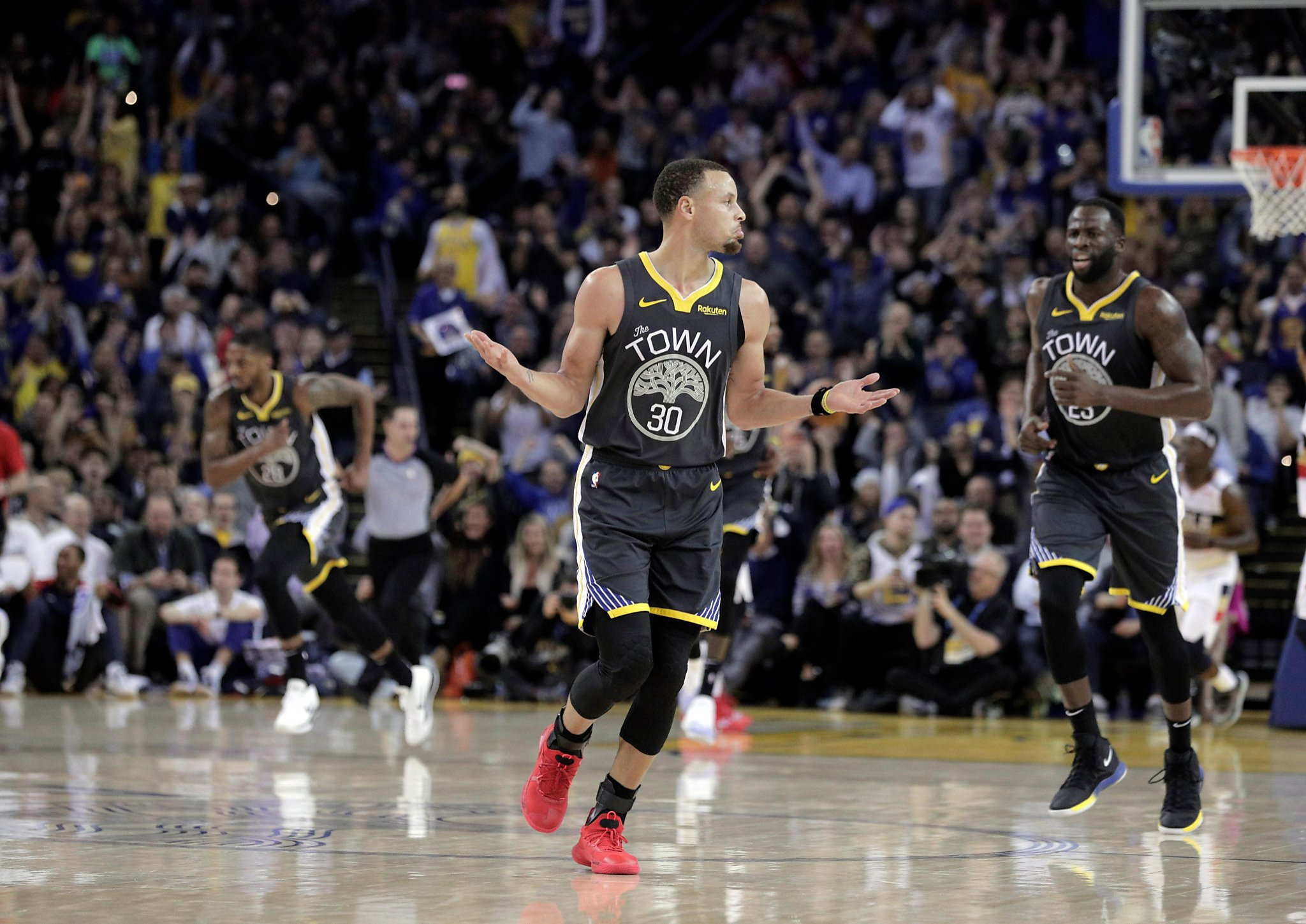 ba8420bb2 Warriors rally from big third-quarter deficit to beat Pelicans 147-140 -  SFGate
