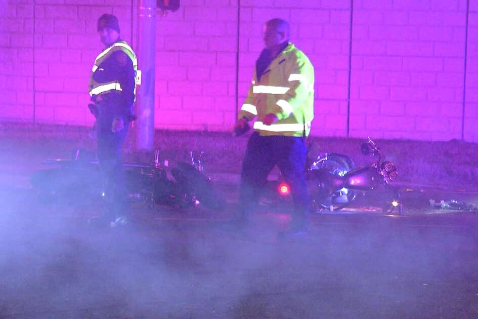 According to police, the driver hit the motorcycle at about 11:30 p.m. near West Military Drive and State Highway 151.