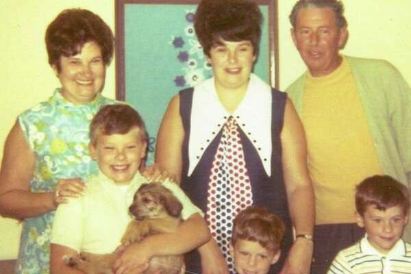 This is Craig's family as he was growing up. From left are his maternal grandmother Dorothy Bush Flore, his brother Jeffrey holding their new puppy Tony, his mother Beverly Flore McDonald, Craig, his maternal grandfather Edward Flore and his brother Brian. The picture is circa 1971. 'We were blessed to have them in our lives,' Craig said.