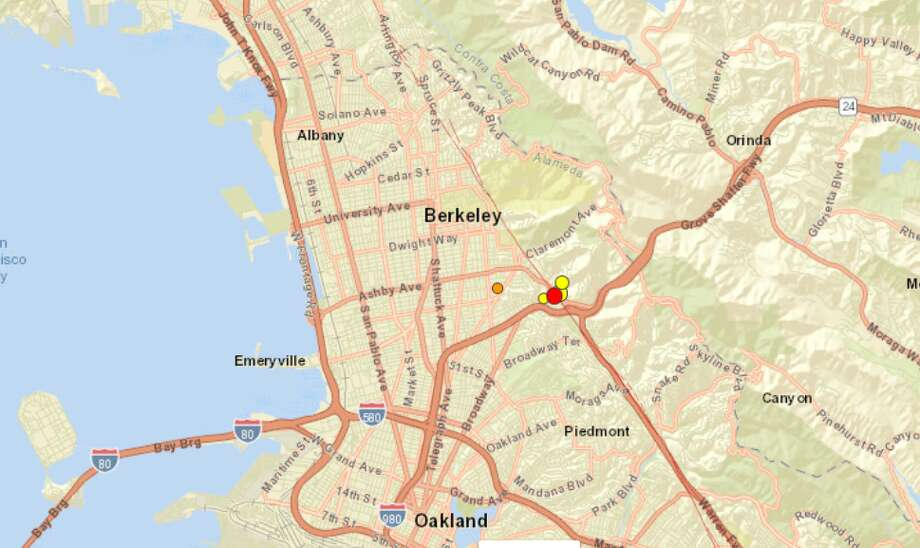 For the second morning in a row, East Bay residents were jolted awake by an earthquake. The quake was centered in Piedmont, Calif. Photo: USGS