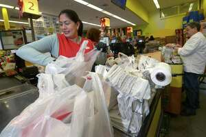 A new Connecticut law takes effect Thursday when customers will be charged 10 cents for plastic bags.