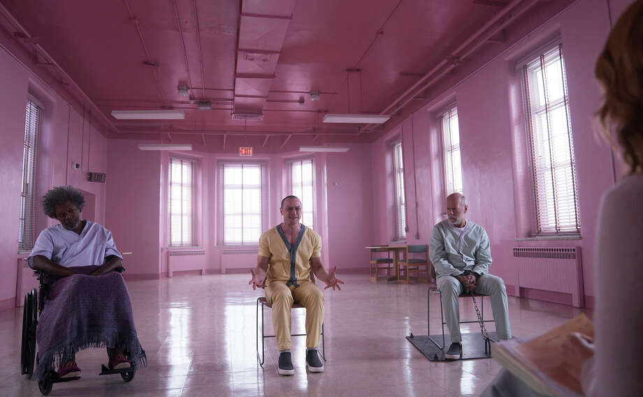 "(L-r) Samuel L. Jackson, James McAvoy and Bruce Willis in ""Glass."" Photo: Jessica Kourkounis, Universal Pictures / Universal Pictures"