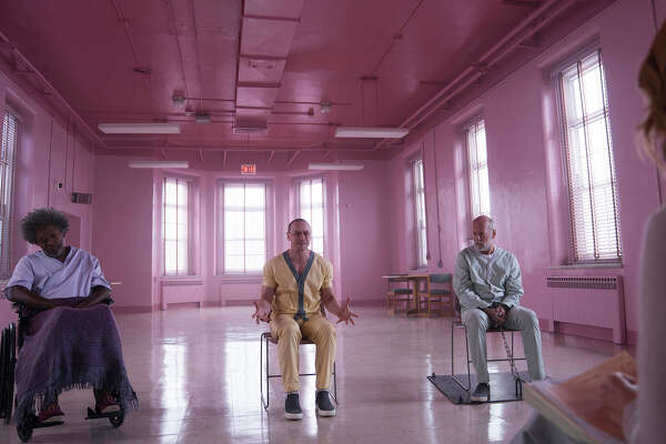 "(L-r) Samuel L. Jackson, James McAvoy and Bruce Willis in ""Glass."""