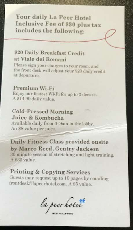 "The card used at the Kimpton La Peer hotel front desk to explain ""amenities fee"" which includes random things like kombucha and fitness classes Photo: Chris McGinnis"