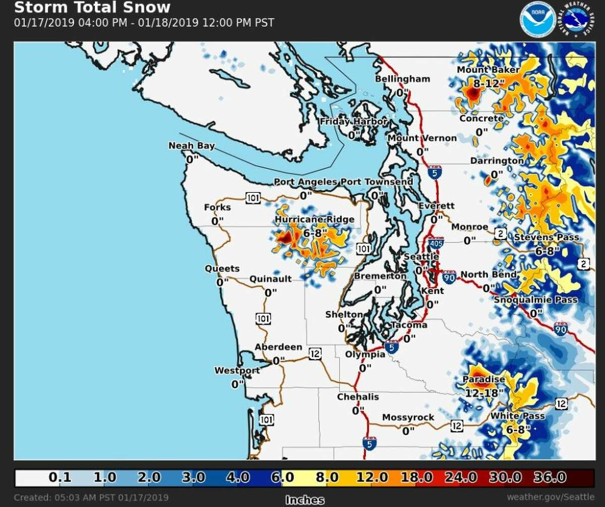 A snow advisory was issued for areas of the Cascade mountains Thursday. Up to a foot of snow was expected in areas above 3,500 feet.