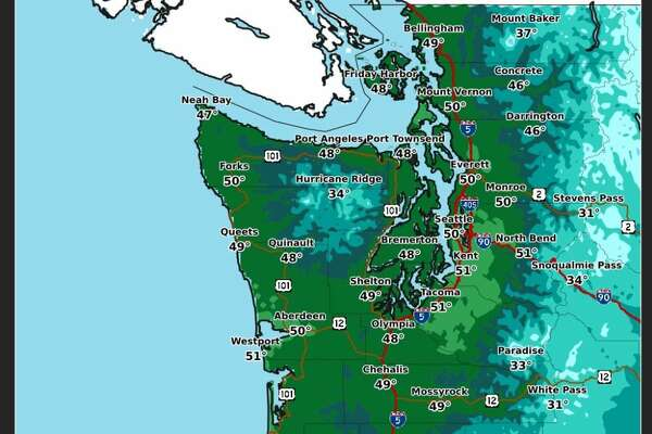 Afternoon high temperatures for Seattle on Thursday were expected to reach 50 degrees.