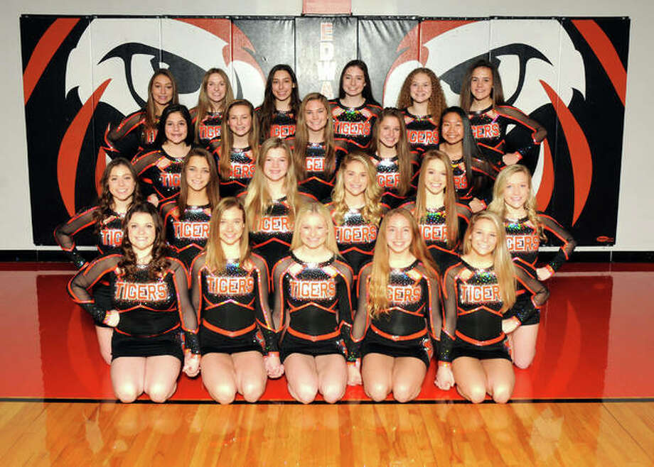 The Edwardsville varsity and competition cheerleaders will perform Saturday in the inaugural Southwestern Conference cheer competition at Alton High School. Front row from left: Kayleigh Wallace, Morgan Allen, Lauren Jenkins, Micah Summers and Tara Colligan. Second row: Brie Yarbrough, Sydney Weber, Nikki Quirin, Drea Hoedebeck, Cyrina Beckmann and Natalie Niehaus. Third row: Grace Misukonis, Katelyn Zacheis, Mabry Slagle, Skylar Touchette and Marcie Billings. Back row: Macy Updyke, Rylee Warmouth, Bree McQueen, Livia Rathgeb, Skyler Richardson and Brynn Miracle. Not pictured: Chloe Fuller. Photo: For The Intelligencer