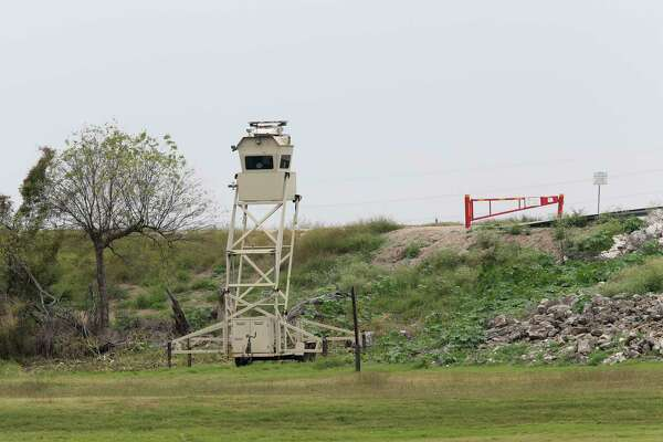A mobile Border Patrol surveillance tower is used at the entrance to Anzalduas Park in Mission. President Trump made a brief stop at the park on the banks of the Rio Grande in his recent visit to McAllen.