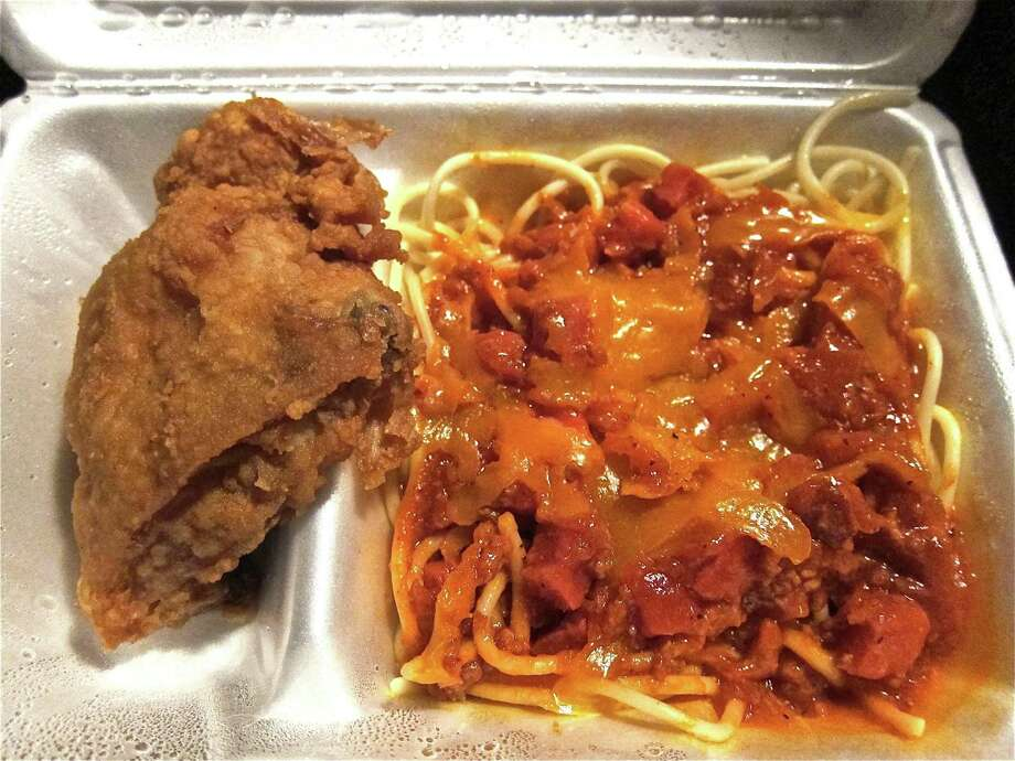 Fried chicken and spaghetti at Jollibee, a Filipino fast food restaurant that appears to be San Antonio-bound. The brand opened a Houston location in 2013. Photo: Alison Cook /Staff File Photo
