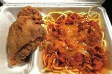 Fried chicken and spaghetti at Jollibee, a Filipino fast food restaurant that appears to be San Antonio-bound. The brand opened a Houston location in 2013.