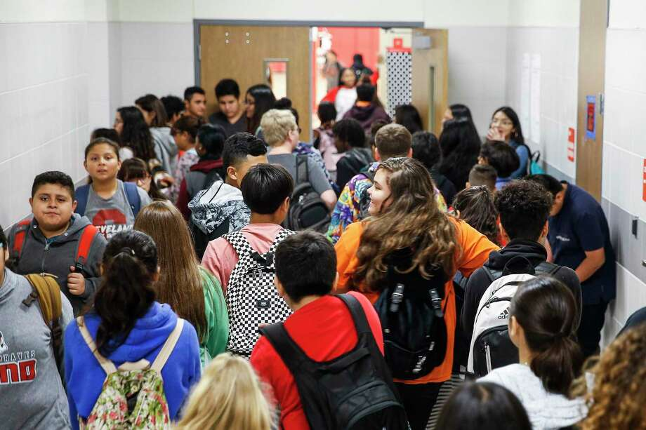 #1 Cleveland ISD2018-2019 enrollment: 6,584Growth rate from previous year: 18.12 percentEnrollment growth from previous year: 1,010 Cleveland Middle School students fill the hallway after lunch Monday Sept. 17, 2018 in Cleveland. Enrollment at Cleveland ISD has nearly doubled since 2014 from 3,800 to more than 6,500 students, straining the district and schools. Photo: Michael Ciaglo, Houston Chronicle / Staff Photographer / Michael Ciaglo