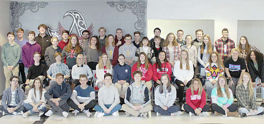 The Alton School District announced Thursday that 47 Alton High School students have been named 2019 Illinois State Scholars for their outstanding academic achievements. State Scholars are selected based on the student's performance at the school level and achievement on the SAT/ACT standardized assessment. The Alton High students are, in alphabetical order (not in order as pictured): Maria Allen, Spencer Barham, Chloe Beauchamp, Gabriel Brady, Hannah Camerer, Adam Carroll, Calista Cox, Joseph Davis, Hazel Denother, Gavin Depew, Isaac Drysdale, Nathaniel Dyer, Thomas Frosch, Michael Green, Molly Gross, Gabriel Hensley, Holley Hentz, Erin Hillery, Taylor Jansen, Malliyah Jones, Samuel Kane, Samuel Keller, Jonathan Lane, George Lindsey, Hannah Macias, David Mathus, Joseph Morrissey, Claire Pohlman, Emmylou Pruitt, Morgan Rauscher, Parker Rockholm, Summer Schleeper, Raina Schlueter, William Schuenke, Lucas Seibold, Sarah Spond, Alexa Staley, Samantha Stendeback, Sydney Stutz, Bradley Taulbee, Christina Thompson, Austin Turnbull, Alex Whitten, Owen Williams, Andrew Wilson, Miller Wiseman, and Tami Wong. Photo: For The Telegraph
