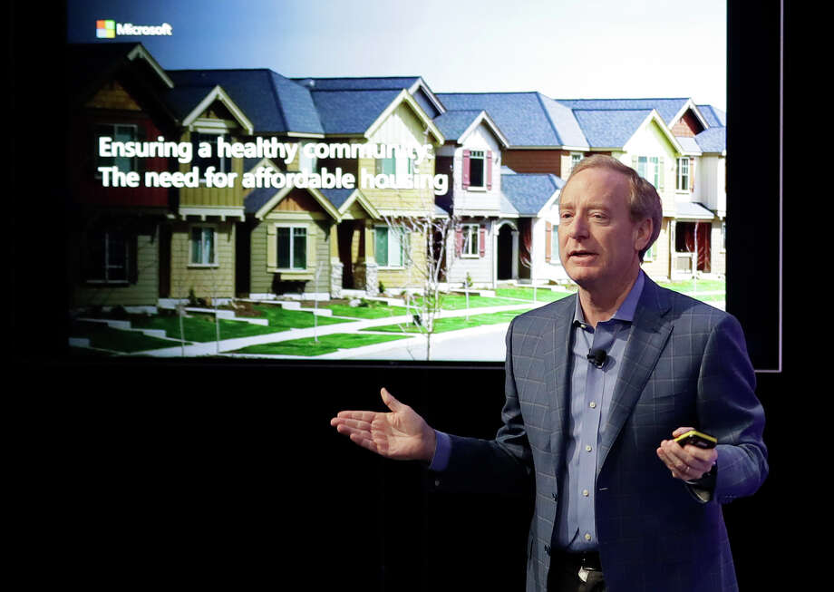 Microsoft Corp. President Brad Smith speaks Thursday, Jan. 17, 2019, during a news conference in Bellevue, Wash., to announce a $500 million pledge by Microsoft to develop affordable housing for low- and middle-income workers in response to the Seattle region's widening affordability gap and to also to address homelessness. Photo: Ted S. Warren, AP / Copyright 2019 The Associated Press. All rights reserved.
