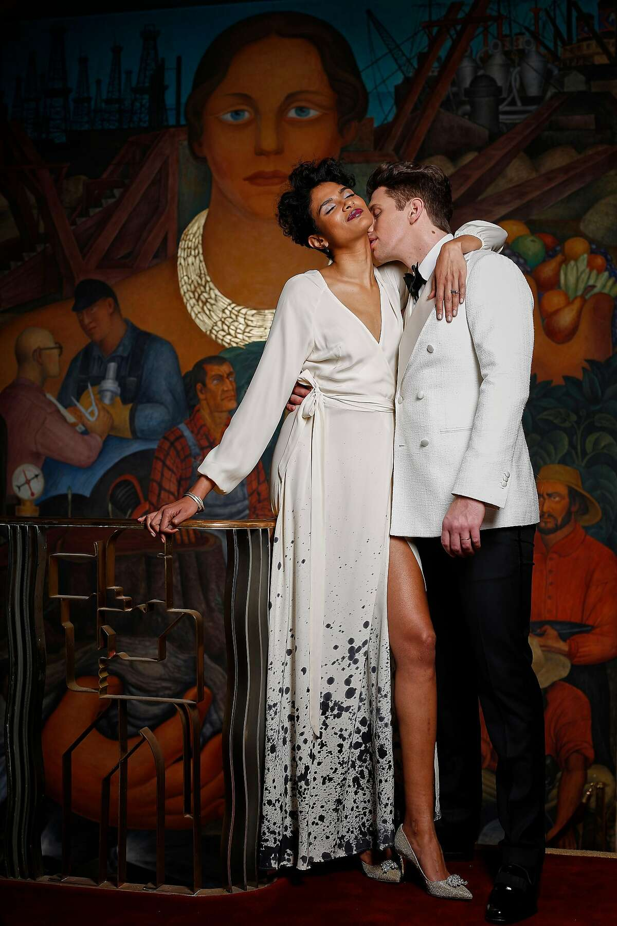 Chetna: Kamperett handpainted Linden silk maxi wrap dress, $895, www.kamperett.com; Kula earrings, $35 and Ruchi silver bangles, $95 each, Wonderland S.F.; Colleen Mauer Designs silver square ring, $134, www.colleenmauerdesigns.com; Jimmy Choo pointed pump with crystal detail, $975, Saks Fifth Avenue. Jacob: Suitsupply white plain double breasted dinner jacket, $469, tuxedo trousers, $149, tuxedo shirt, $99, bowtie, $45, pocket square, $29 and patent tuxedo shoe, $249, www.suitsupply.com, opening on Maiden Lane spring 2016. Models: Chetna M. and Jacob Dean / Look Model Agency Styling: Tony Bravo Makeup: Tamra-Marie Johnson Hair & grooming: Ron Pernell Styling assistant: Rachel Znerold Photo assistant: Stephen Lam Shot on location at the City Club, San Francisco