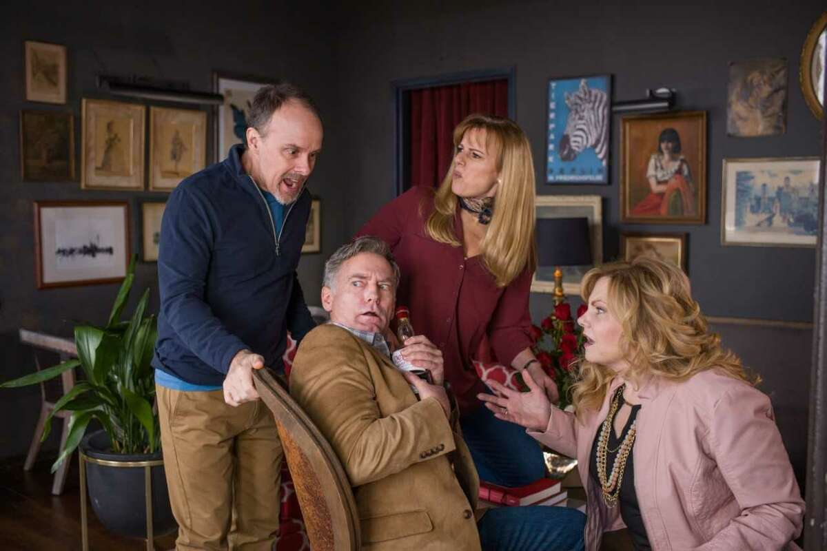 """From left: Oliver Wadsworth, James Lloyd Reynolds, Yvonne Perry, Elizabeth Rouse in """"Red Maple"""" at Capital Repertory Theatre. Photo credit: Richard Lovrich"""