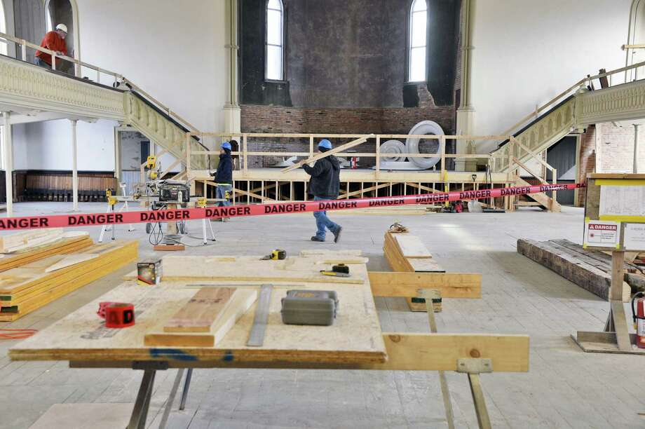 The Great Hall of the Universal Preservation Hall undergoes a transformation from an 1871 Methodist Church into a flexible state-of-the-art 700-seat in-the-round performance spaceThursday Dec. 6, 2018 in Saratoga Springs, NY.  (John Carl D'Annibale/Times Union) Photo: John Carl D'Annibale / 20045644A