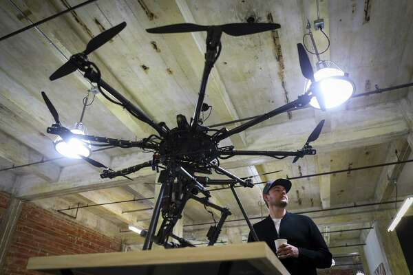 Justin Oakes, co-founder of Droneworks Studios, talks about the custom drones the company builds and flies custom drones for a wide variety of commercial and creative clients based out of their office in Houston, Monday, Jan. 7, 2019.