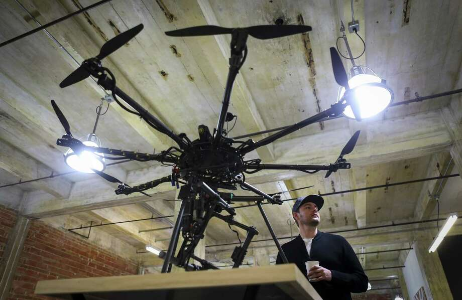 Justin Oakes, co-founder of Droneworks Studios, talks about the custom drones the company builds and flies custom drones for a wide variety of commercial and creative clients based out of their office in Houston, Monday, Jan. 7, 2019. Photo: Mark Mulligan, Houston Chronicle / Staff Photographer / © 2019 Mark Mulligan / Houston Chronicle