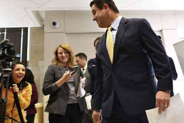 Erik Walsh, who has worked in San Antonio municipal government for 24 years, is the remaining finalist to fill the city manager position. He shares a light-hearted moment with the media after a press conference on Jan. 17.