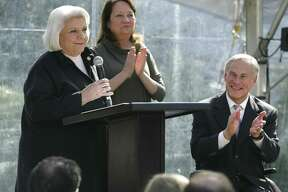 Democratic state Sen. Judith Zaffirini address a crowd as she's inducted into the Texas Women's Hall of Fame on Thursday.
