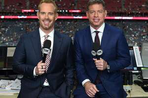 NFL of Fox announcers Joe Buck, left, and Troy Aikman. (Fox Sports photo)