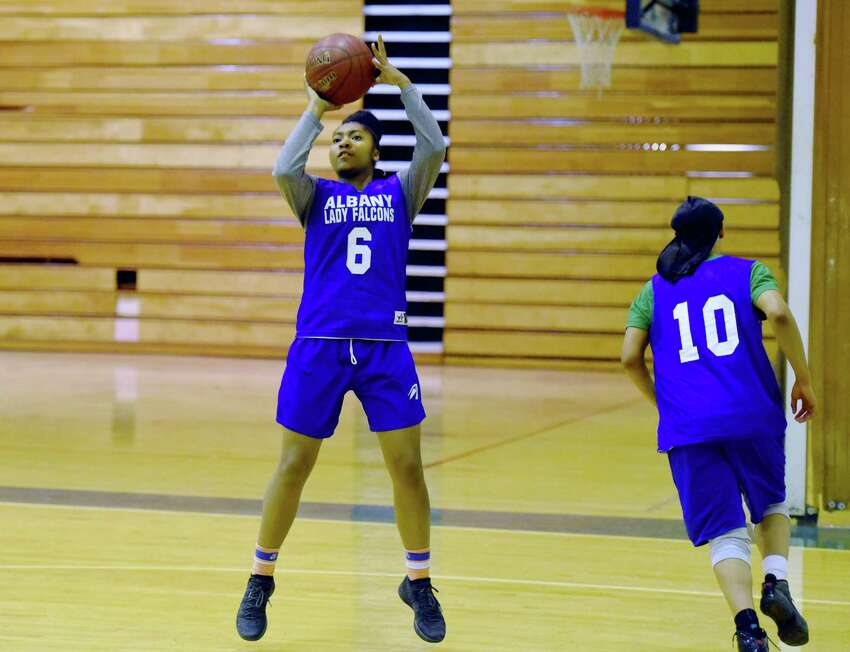 Albany guard Ahniysha Jackson goes in for a layup during practice Thursday, Jan. 17, 2019 at Albany High School in Albany, N.Y. (Phoebe Sheehan/Times Union)