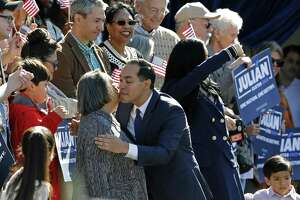 Julián Castro, former U.S. Department of Housing and Urban Development Secretary and former San Antonio Mayor, hugs his mother Rosie Castro before announcing his candidacy for president in 2020, at Plaza Guadalupe on Saturday in San Antonio.
