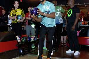 Chris Paul of the Houston Rockets warms up as he prepares to compete in his annual CP3 PBA Celebrity Invitational at Bowlero The Woodlands, Thursday, Jan. 17, 2019, in The Woodlands.
