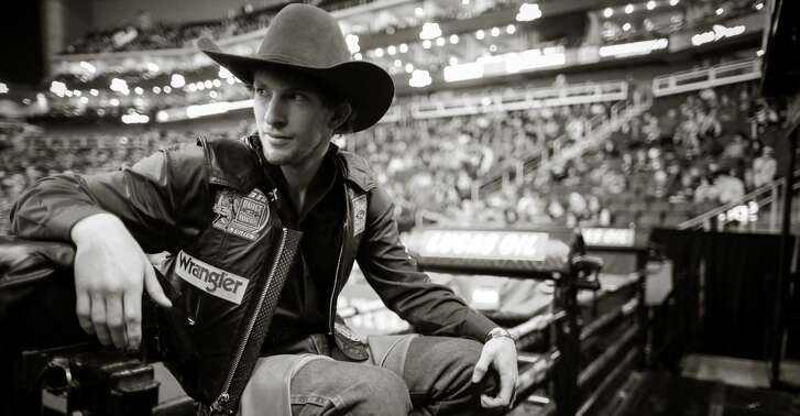(Editors Note: This image has been converted to black and white) Mason Lowe competes during the PBR Kansas City Invitational at Sprint Center on February 12, 2017 in Kansas City, Missouri.