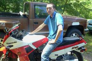 Jonathan Schaff was last seen on Jan. 18, 2014, walking on Route 149 in Granville toward Vermont. In this undated photograph, he sits astride his motorcycle, which he often rode with his father. (Photo provided by Billi Jo Rathbun)