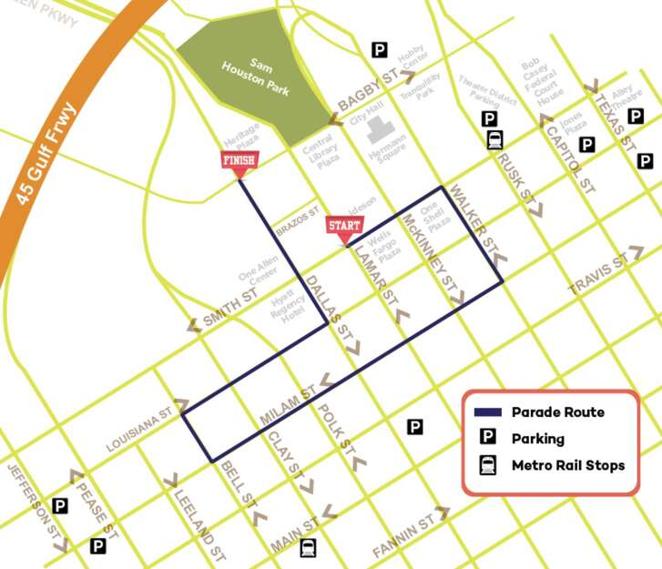 Several events, including the Houston MLK Day Parade route shown here, will likely tie up traffic in downtown and throughout the city.