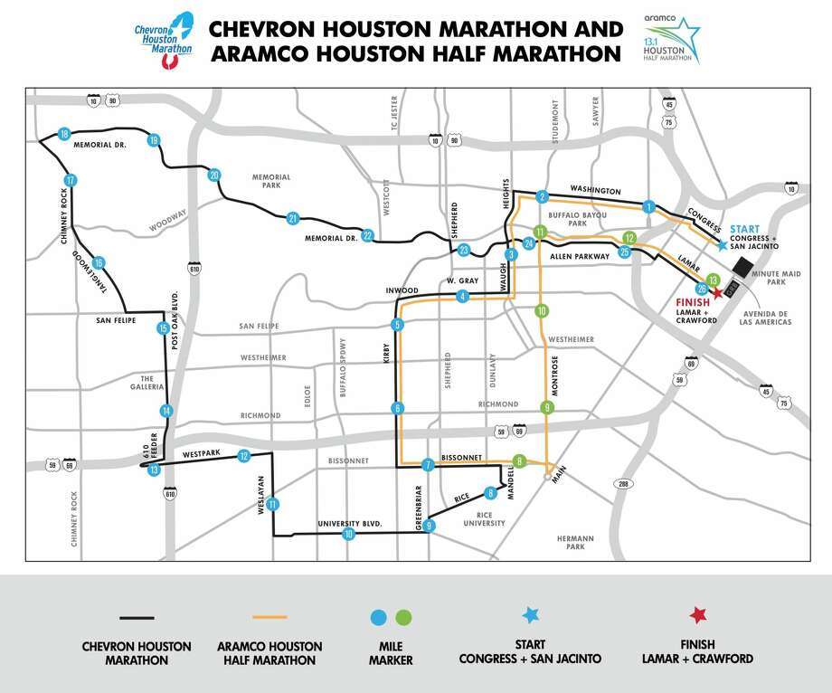PHOTOS: The best signs from the 2018 Chevron Houston Marathon Several events, including the Chevron Houston Marathon route shown here, will likely tie up traffic in downtown and throughout the city. >>>Browse through the gallery to see some of the best signs from last year's race ... Photo: Chevron Houston Marathon