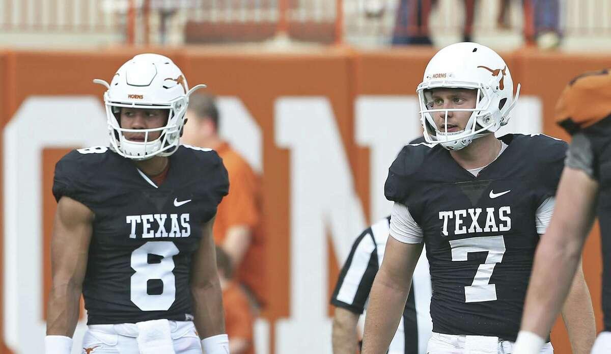 The future of quarterbacks Casey Thompson (8) follows Shane Buechele at Texas remains a question.