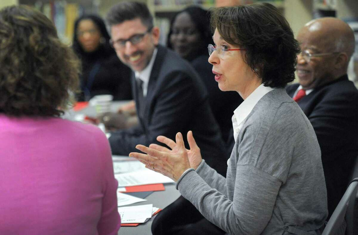 Barbara Dalio, co-founder and director of the Dalio Foundation speaks during a roundtable discussion hosted by the Dalio Foundation at Tracey Elementary School Wednesday January 16, 2019, prior to in Norwalk, Conn. The event highlighted the forthcoming release of a report from The Aspen Institute National Commission on Social, Emotional, and Academic Development titled, From a Nation at Risk to a Nation at Hope, which outlines steps officials should take to improve public education in the United States.