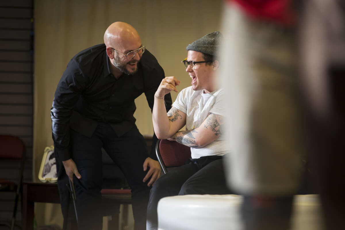 Playwright Rob Askins laughs with director Will Davis during rehearsal for Askins's new play