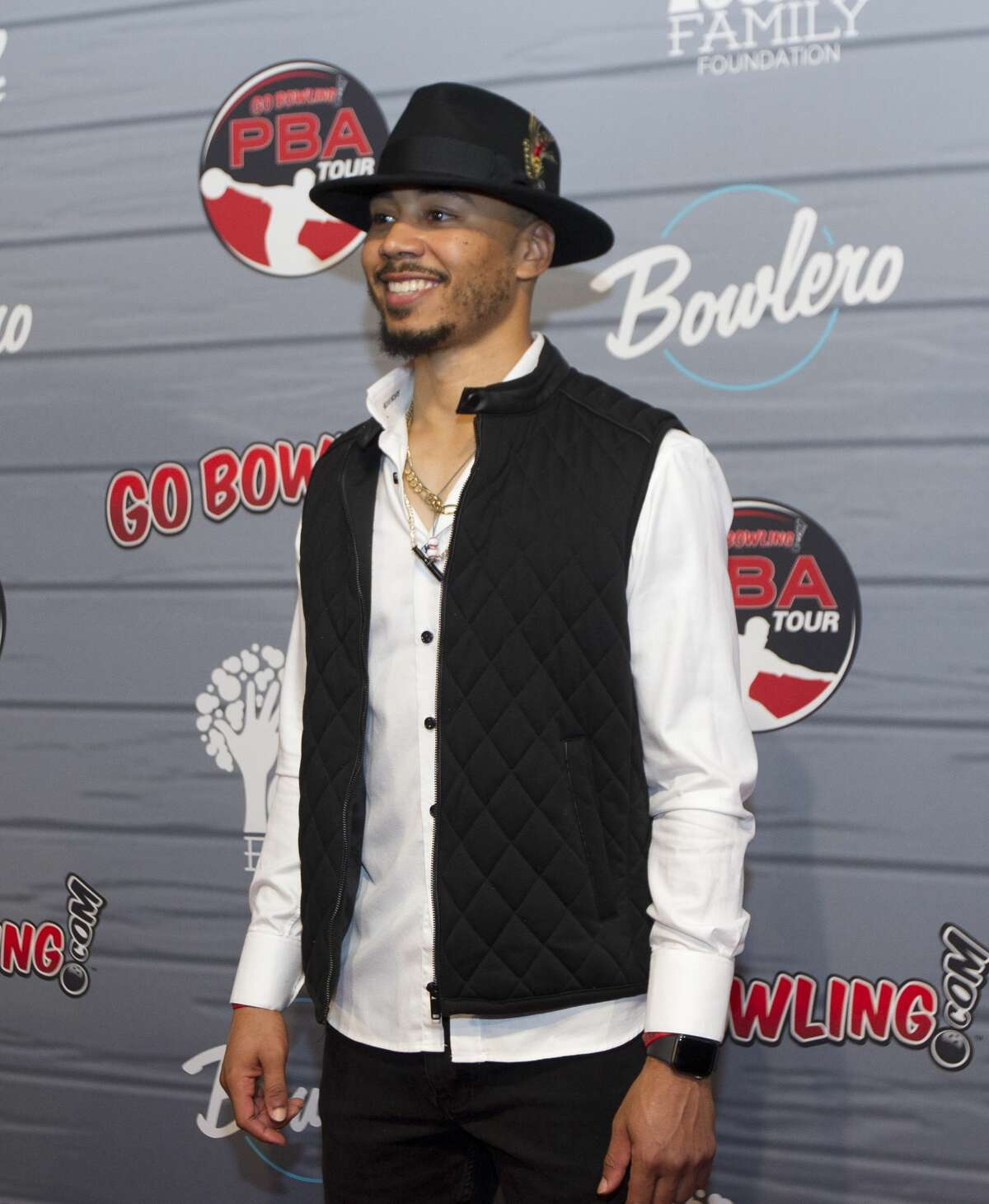 Mookie Betts of the Boston Red Sox arrives for the annual CP3 PBA Celebrity Invitational at Bowlero.
