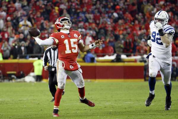 A versatile passer whose father was a major league pitcher, Chiefs quarterback Patrick Mahomes (15) sometimes resembles a shortstop throwing from deep in the hole.