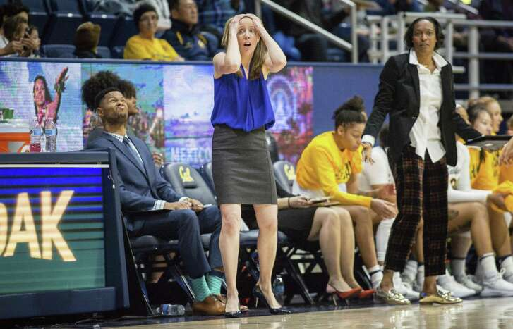 Cal's coach Lindsay Gottlieb can't believe a call by referees in action against UCLA during an NCAA college basketball game at Haas Pavilion on Friday, Jan. 4, 2019, in Berkeley, Calif. UCLA won 84-79. (AP Photo/Tomas Ovalle)
