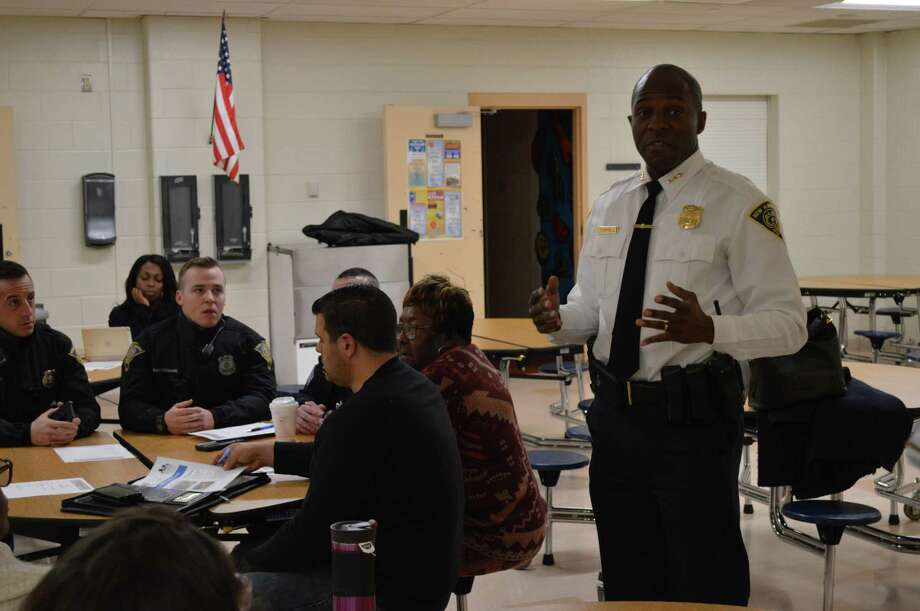 New Haven Police Chief Anthony Campbell at the Hill South Community Management Team meeting Jan. 16, 2019 Photo: Clare Dignan / Hearst Connecticut Media