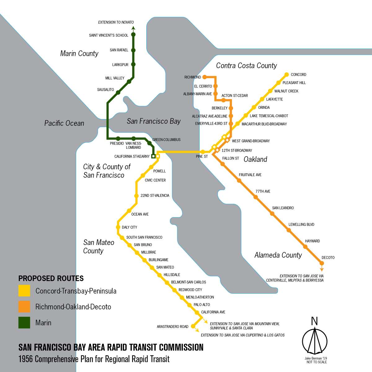 A modern visualization of the map BART proposed in 1956.