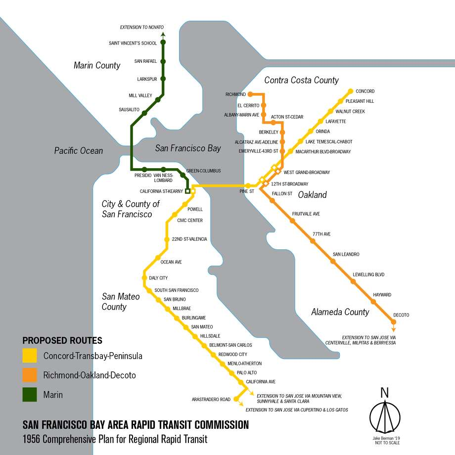 A modern visualization of the map BART proposed in 1956. Photo: Jake Berman
