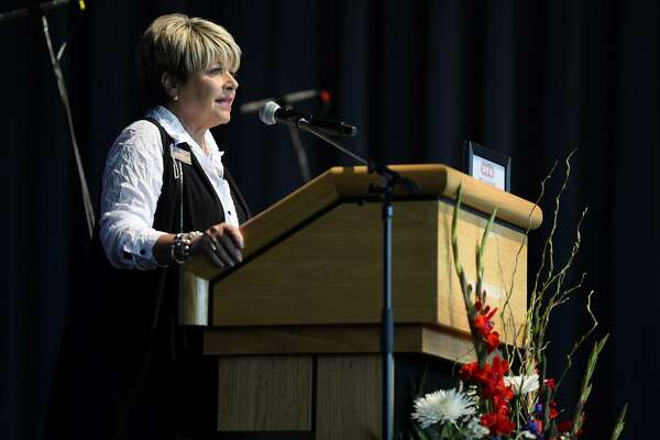Beaumont Mayor Becky Ames during a memorial event at The Event Centre to the Sept. 11, 2001 terror attacks on Tuesday. Photo taken Tuesday 9/11/18 Ryan Pelham/The Enterprise