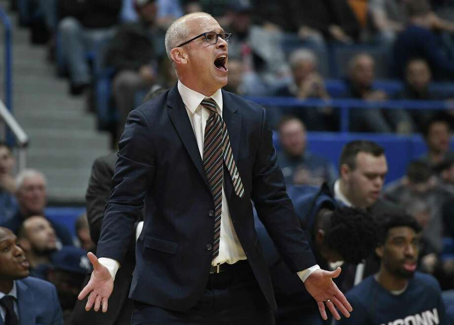 UConn coach Dan Hurley took issue with AAC officiating after being ejected along with Tulsa coach Frank Haith on Wednesday night. Photo: Jessica Hill / Associated Press / Copyright 2019 The Associated Press. All rights reserved