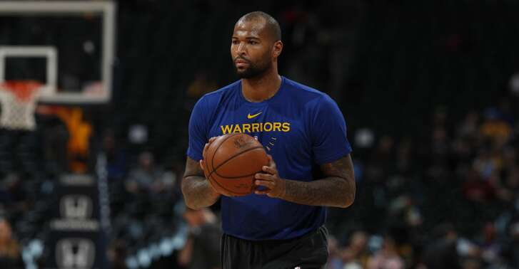 Golden State Warriors center DeMarcus Cousins (0) in the first half of an NBA basketball game Tuesday, Jan. 15, 2019, in Denver. (AP Photo/David Zalubowski)