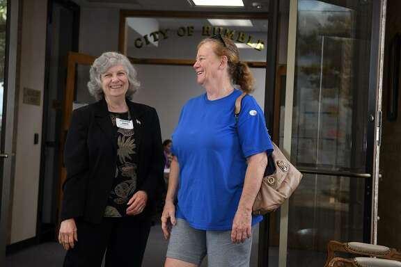 Precinct Judge Melinda LeBlanc, left, visits with Donna Lowry after Lowry voted in the Humble ISD Bond Election at Humble City Hall on May 5, 2018. (Photo by Jerry Baker/Freelance)