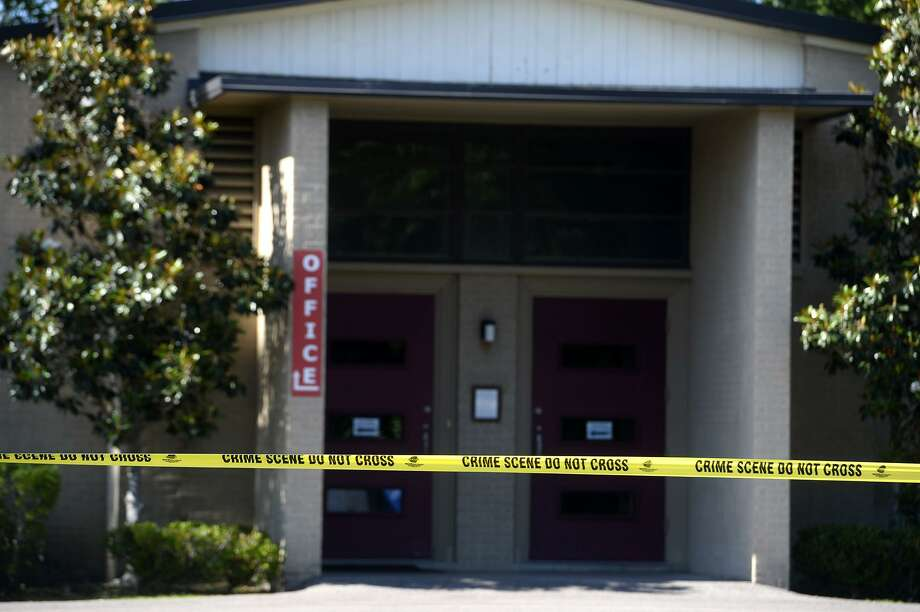 Crime scene tape outside of St. Stephen's Episcopal Church in Beaumont after a device exploded outside of the church's office. There were no injuries, according to the Episcopal diocese, which said the device was left sometime between Wednesday evening services and Thursday morning. Photo taken Thursday 5/10/18 Ryan Pelham/The Enterprise Photo: Ryan Pelham / Ryan Pelham/The Enterprise / ©2018 The Beaumont Enterprise/Ryan Pelham