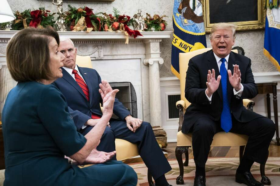 President Donald J. Trump debates with House Minority Leader Nancy Pelosi, D-Calif., left, as Senate Minority Leader Chuck Schumer, D-N.Y., and Vice President Mike Pence listen during a meeting in the Oval Office of White House on Tuesday, Dec. 11, 2018 in Washington, DC. (Photo by Jabin Botsford/The Washington Post via Getty Images) Photo: The Washington Post/The Washington Post/Getty Images