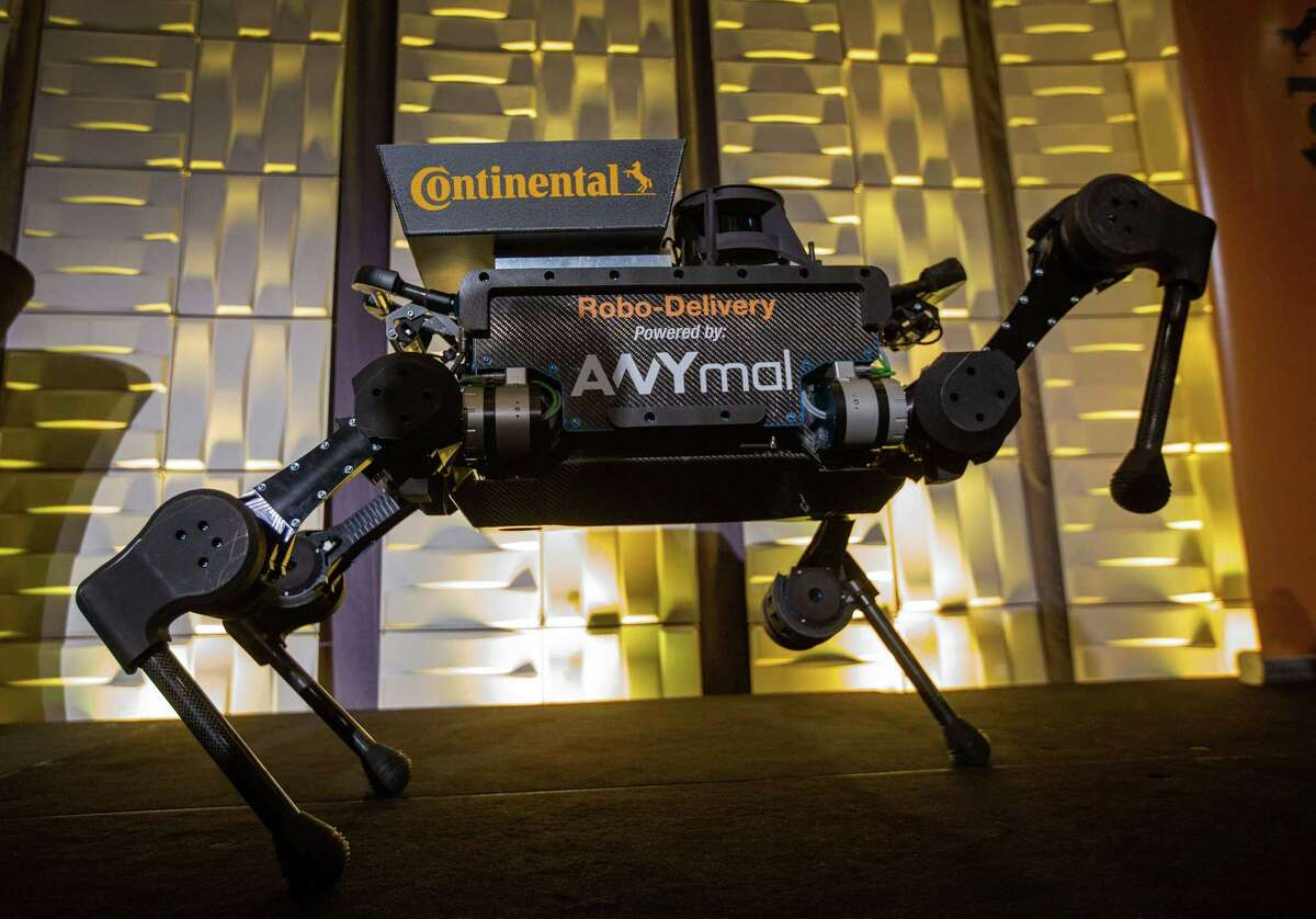 An autonomously operated ANYmal quadrupedal delivery robot appears at the Continental press conference at the Mandalay Bay Convention Center during CES 2019 in Las Vegas on January 7, 2019. (Photo by DAVID MCNEW / AFP)DAVID MCNEW/AFP/Getty Images