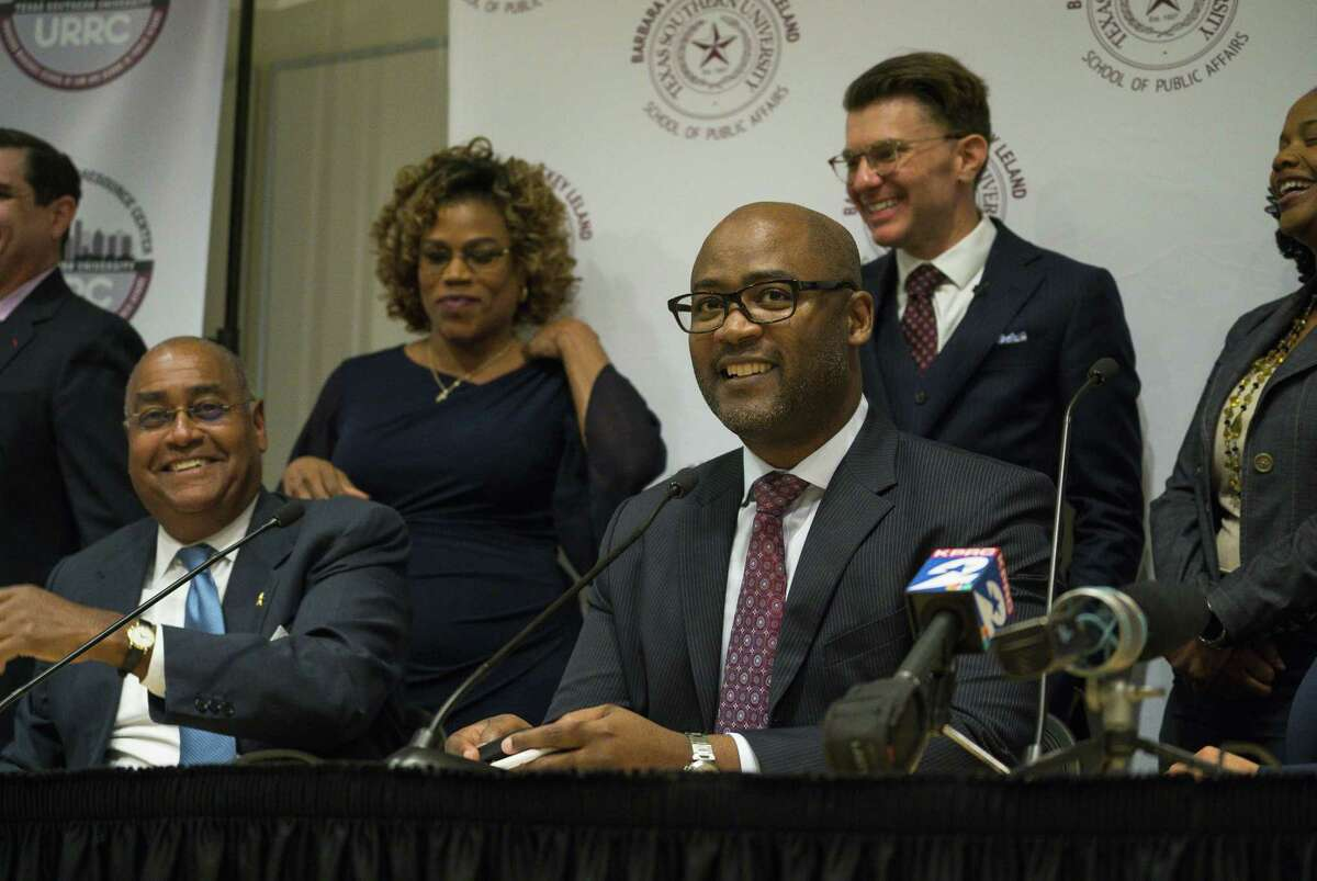 Darrell Jordan, the presiding judge of the Harris County Criminal Courts of Law, talks about a new rule, Local Rule 9.1, that will allow reform the county's current cash bail system, during a press conference at Texas Southern University in Houston, Thursday, Jan. 17, 2019. The new rule allows qualifying misdemeanor arrestees to be released on a personal bond rather than a cash bond.