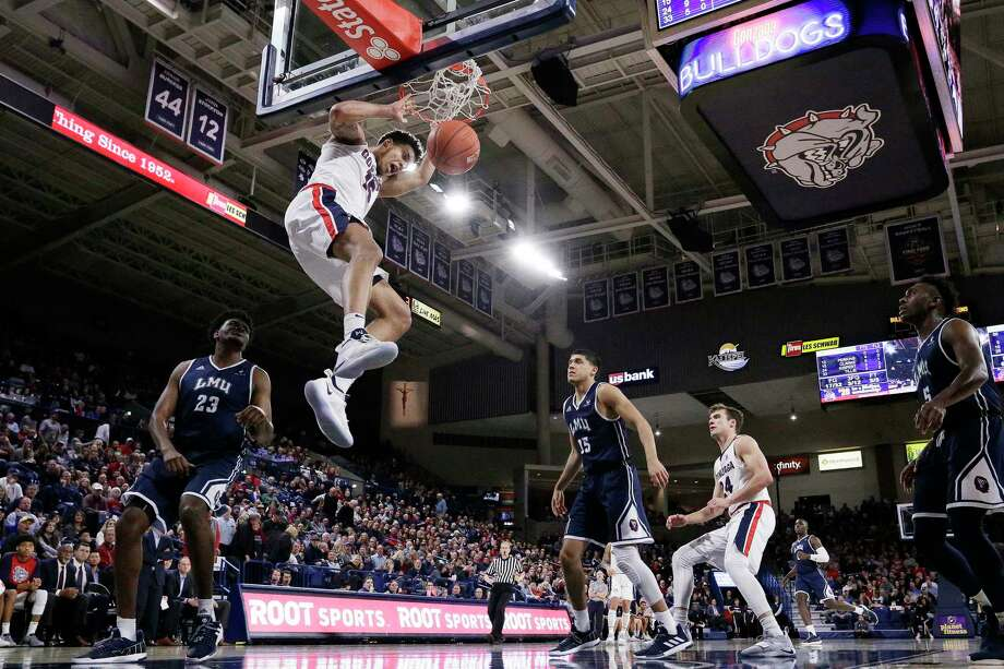 Gonzaga forward Brandon Clarke dunks during the second half of the team's NCAA college basketball game against Loyola Marymount in Spokane, Wash., Thursday, Jan. 17, 2019. Gonzaga won 73-55. (AP Photo/Young Kwak) Photo: Young Kwak / Copyright 2019 The Associated Press. All rights reserved.